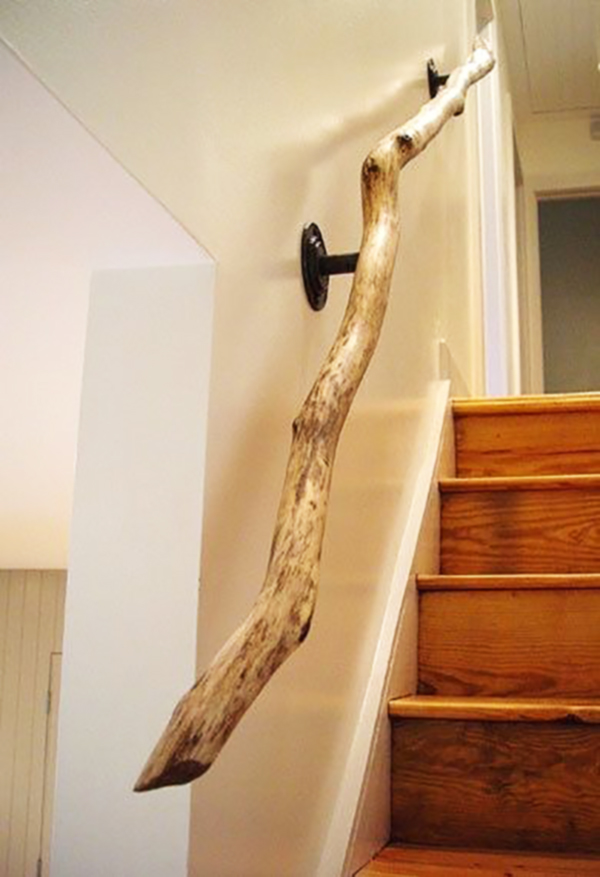 Branch banister and wooden staircase