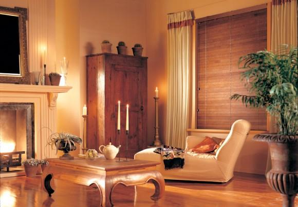 wooden blind living room