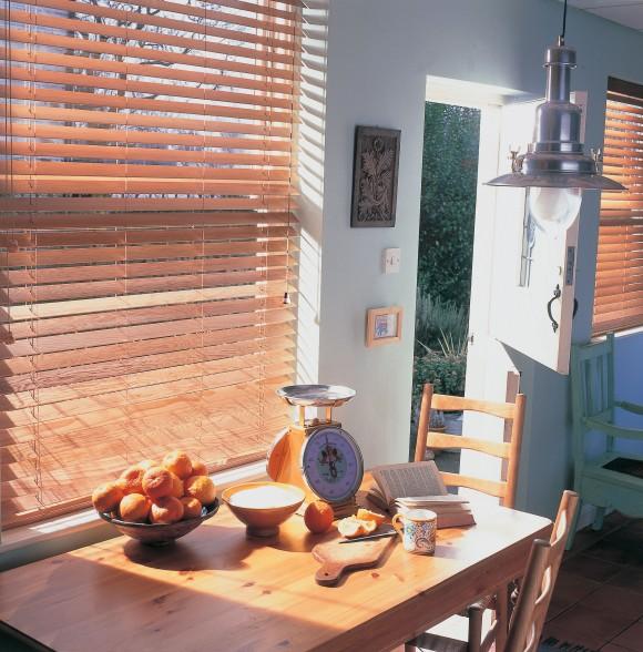 Wooden blinds kitchen