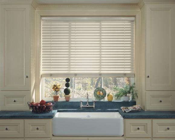 white wooden blind, kitchen