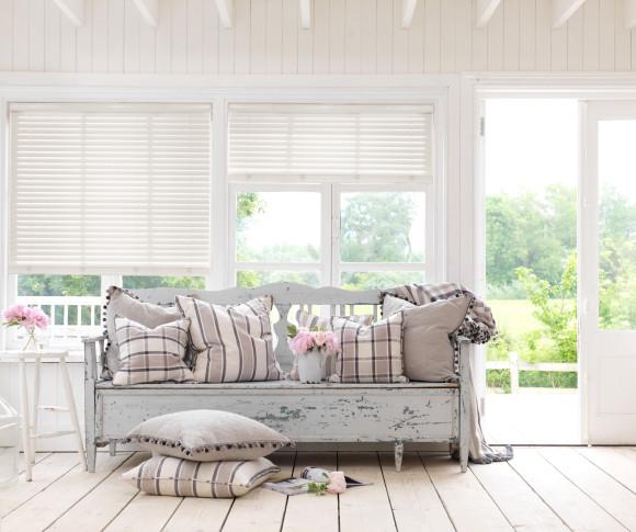 Living room wooden blind